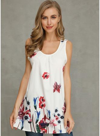 Floral Impresión Cuello Redondo Sin mangas Casual Camisetas sin mangas