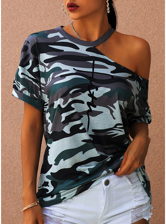 Print One Shoulder Short Sleeves Casual Blouses