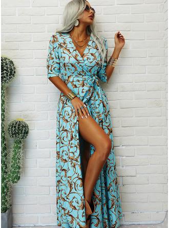 Print A-line 1/2 Sleeves Maxi Party Elegant Skater Wrap Dresses
