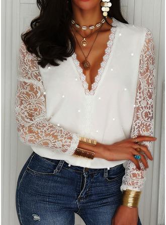 Beaded Lace Solid V-Neck Long Sleeves Elegant Blouses