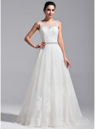 Corte A/Princesa Escote redondo Tren de la catedral Tul Encaje Vestido de novia con Bordado Lentejuelas