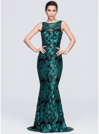 Trumpet/Mermaid Scoop Neck Sweep Train Lace Sequined Evening Dress