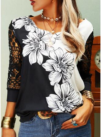 Blumen Spitze Druck V-Ausschnitt 3/4 Ärmel Lässige Kleidung Blusen