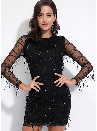 Above Knee Round Neck Polyester Sequins Long Sleeves Fashion Dresses
