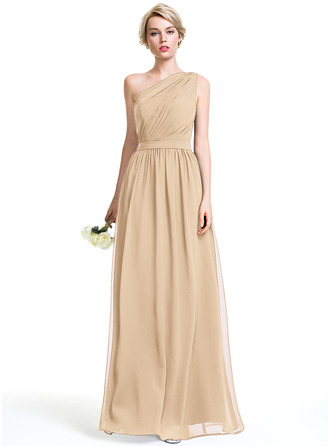 A-Line One-Shoulder Floor-Length Chiffon Bridesmaid Dress With Ruffle