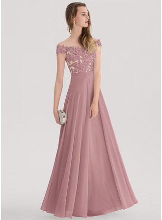 A-Line/Princess Off-the-Shoulder Floor-Length Chiffon Prom Dresses With Beading
