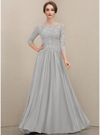 A-Linie U-Ausschnitt Bodenlang Chiffon Spitze Kleid für die Brautmutter mit Perlstickerei Pailletten