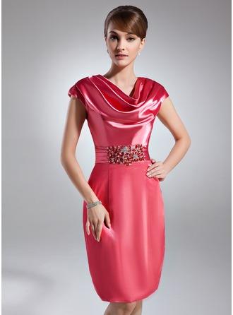 Sheath/Column Cowl Neck Knee-Length Charmeuse Cocktail Dress With Ruffle Beading