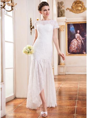 Corte trompeta/sirena Escote redondo Asimétrico Encaje Vestido de novia