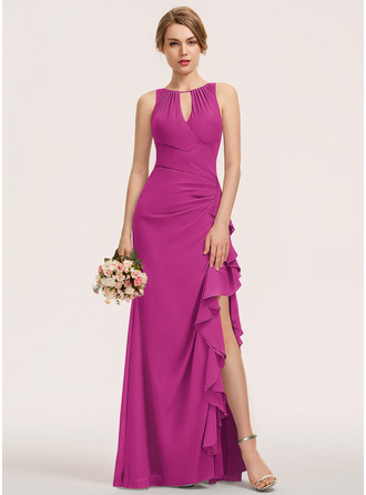 A-Line Scoop Neck Floor-Length Chiffon Evening Dress With Split Front Cascading Ruffles
