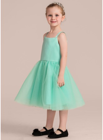 A-Line/Princess Knee-length Flower Girl Dress - Satin/Tulle Sleeveless Straps