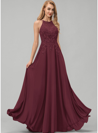 A-Line Scoop Neck Floor-Length Chiffon Prom Dresses With Lace Sequins