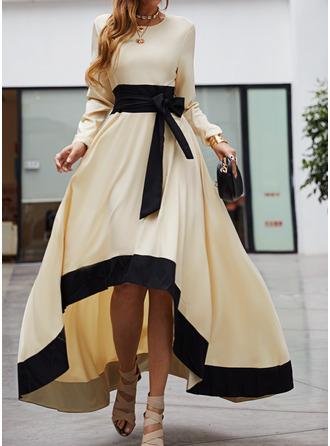 Цветной блок A-линии Длинные рукова асимметричный партия Повседневная элегантный Конькобежец Модные платья