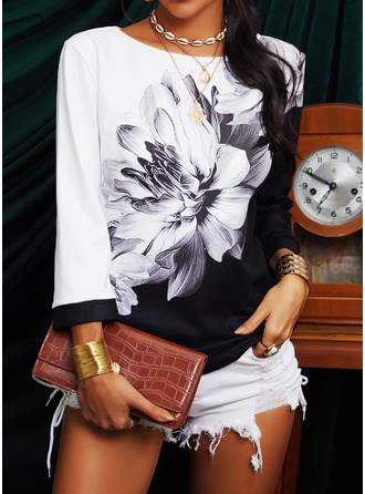 Color Block Floral Print Round Neck 3/4 Sleeves Casual Blouses