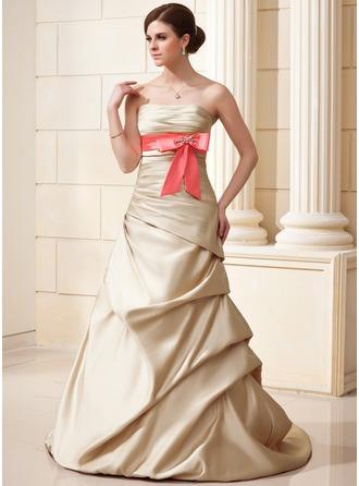 A-Line/Princess Strapless Court Train Satin Wedding Dress With Ruffle Sash Beading Bow(s)