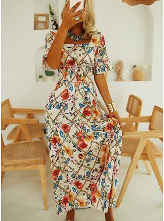 Floral Print A-line Short Sleeves Maxi Elegant Skater Dresses
