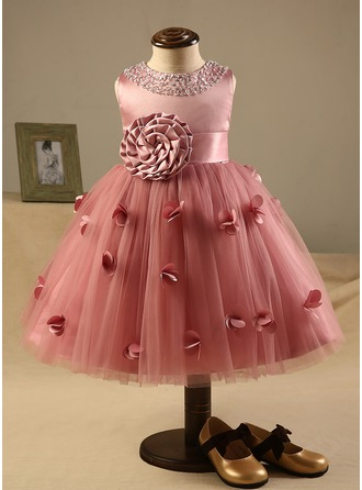 A-Line/Princess Knee-length Flower Girl Dress - Polyester/Cotton Sleeveless Scoop Neck With Flower(s)/Bow(s)/Rhinestone