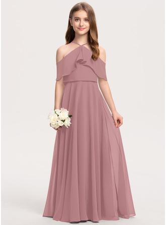 A-linjainen Off--Shoulder Lattiaa hipova pituus Sifonki Nuorten morsiusneito mekko jossa Laskeutuva röyhelö