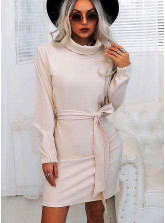 Jednolity Pokrowiec Długie rękawy Mini Nieformalny Modne Suknie