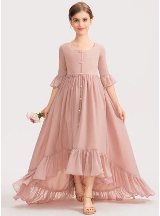 A-Linie U-Ausschnitt Asymmetrisch Chiffon Kleid für junge Brautjungfern mit Schleife(n) Gestufte Rüschen