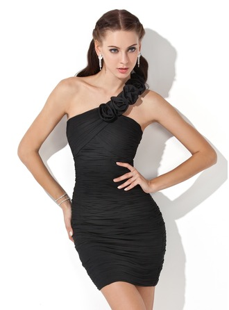 Sheath/Column One-Shoulder Short/Mini Chiffon Homecoming Dress With Ruffle Flower(s)