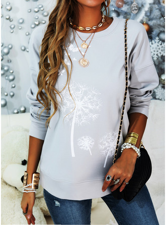 Animal Print Dandelion Round Neck Long Sleeves Sweatshirt