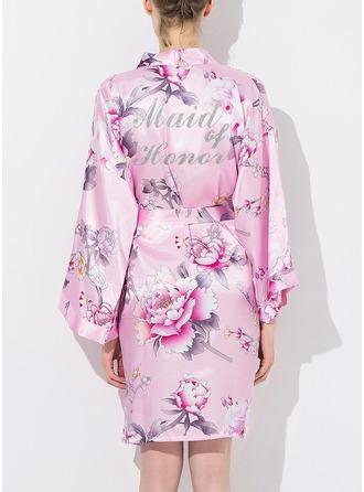 Seda Dama de honor Togas florales Batas con estampado de purpurina