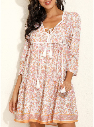 Floral Print Shift 3/4 Sleeves Mini Boho Casual Vacation Tunic Dresses