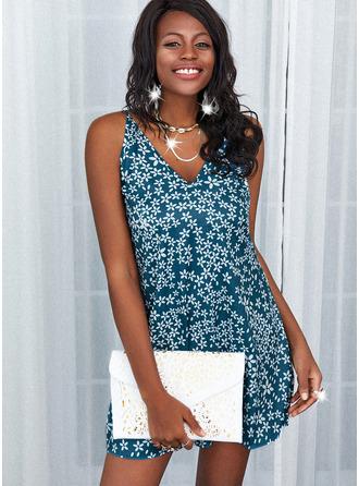 Kwiatowy Nadruk Suknie shift Bez Rękawów Mini Nieformalny Wakacyjna Rodzaj Modne Suknie