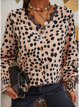 Lace Print V-Neck Long Sleeves Button Up Casual Blouses
