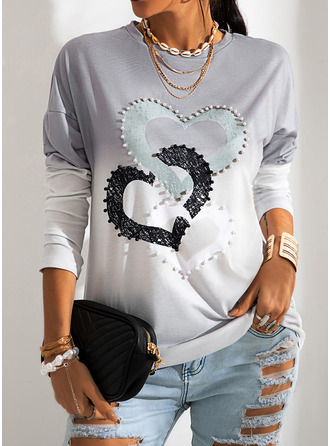 Print Gradient Heart Round Neck Long Sleeves Casual T-shirt
