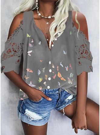 Animal Print Cold Shoulder 1/2 Sleeves Casual Shirt Blouses