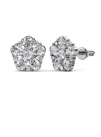 Sonar Naisten Classic 925 sterlinghopea hopea Itävallan kristalli Korvakoruja Hänen/Ystävät/Bride