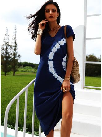 Tisk Šaty Shift Krátké rukávy Maxi Neformální Dovolená tričko Módní šaty