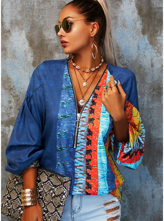 Color Block Print V-Neck 3/4 Sleeves Casual Blouses