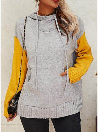 Hooded Casual Color Block Pocket Sweaters