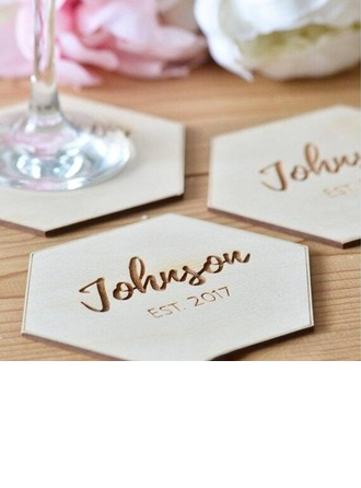 Groom Gaver - Personaliseret Solid Color Træ Coaster