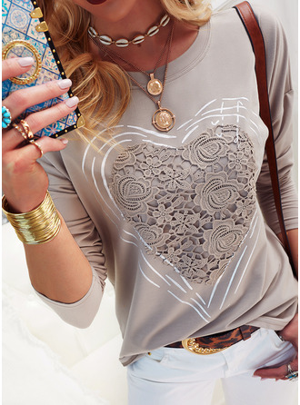 Lace Solid Round Neck Long Sleeves Casual T-shirt