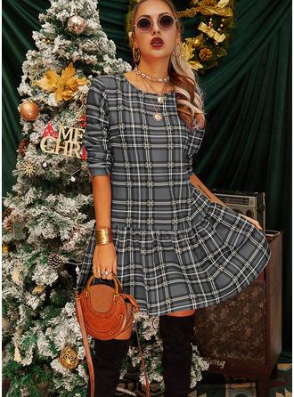 Plaid Shift Long Sleeves Mini Casual Dresses