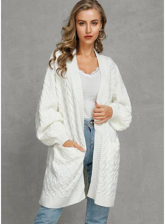 Kabelstrick Einfarbig Taschen Polyester Strickjacken Pullover