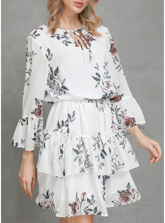 Floral Print A-line 3/4 Sleeves Mini Casual Skater Dresses