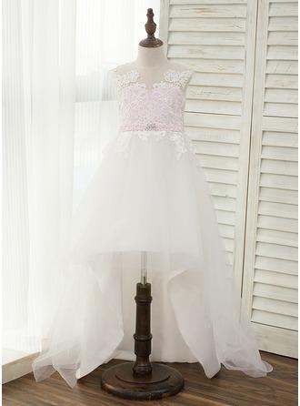 A-Line/Princess Asymmetrical Flower Girl Dress - Satin/Tulle Sleeveless Scoop Neck With Rhinestone