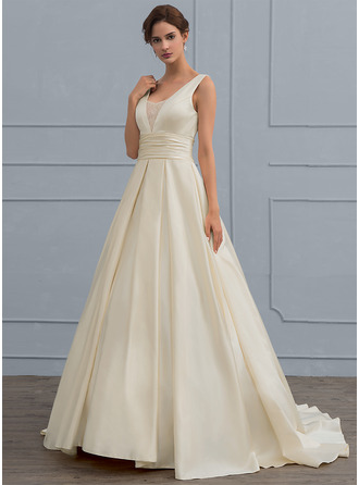 Ball-Gown V-neck Sweep Train Satin Wedding Dress With Lace