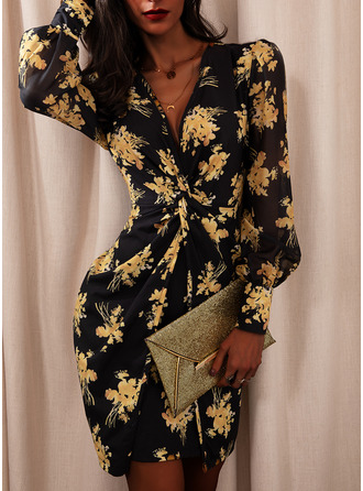 Floral Print Bodycon Long Sleeves Puff Sleeves Mini Party Elegant Dresses