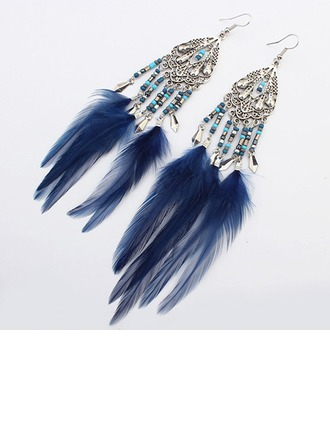 Schöne Legierung Harz mit Feder Damen Art-Ohrringe