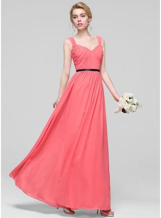 A-Line/Princess Sweetheart Floor-Length Chiffon Bridesmaid Dress With Ruffle Sash