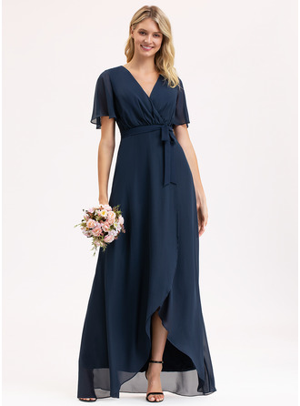 A-Line V-neck Asymmetrical Chiffon Prom Dresses With Bow(s)