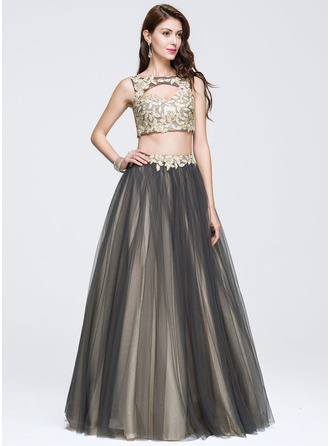 Ball-Gown Scoop Neck Floor-Length Tulle Prom Dress With Beading Appliques Lace