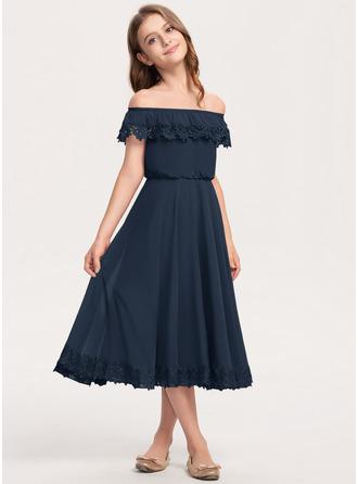 Áčkové Šaty Off-the-rameno Tříčtvrteční délka Šifón Krajka Šaty pro mladé družičky
