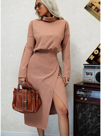 Solid Sheath Long Sleeves Midi Casual Dresses